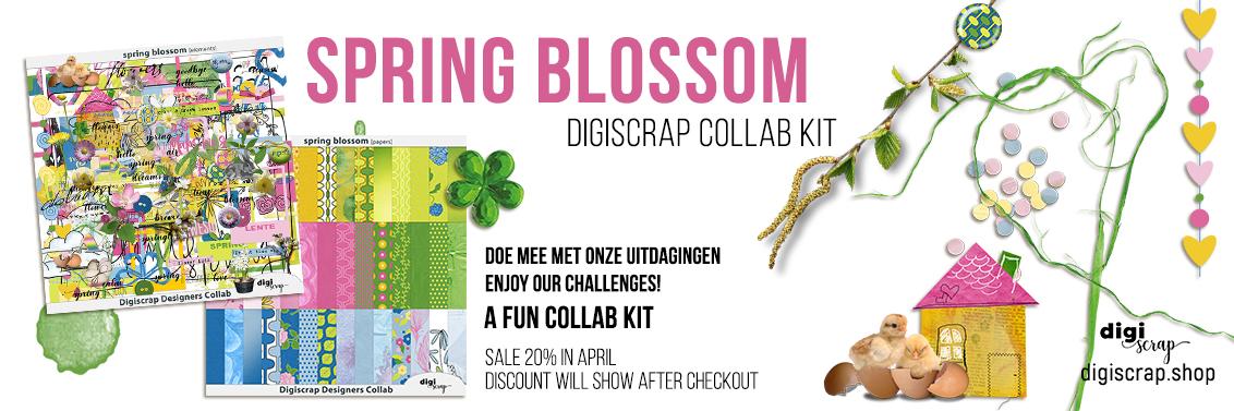 Digiscrap Digitaal scrappen - Digiscrap Collab - Spring Blossom