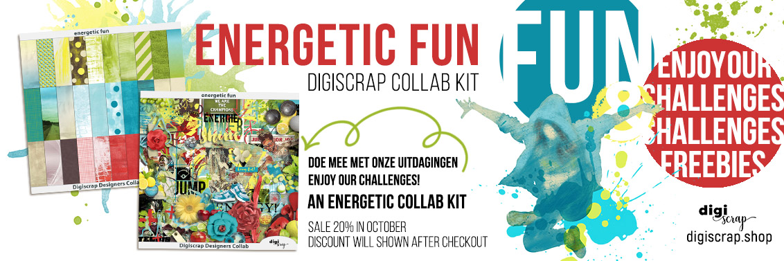 Digiscrap Digitaal scrappen - Digiscrap Collab - Energetic Fun